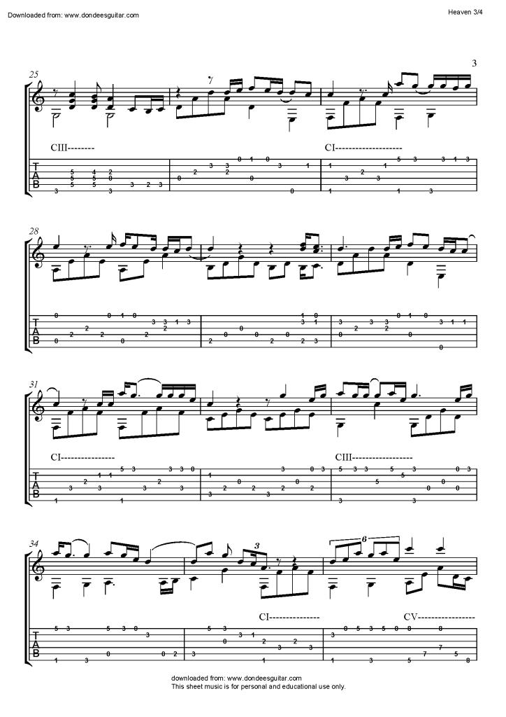 Heaven By Bryan Adams Fingerstyle Guitar Free Fingerstyle Guitar