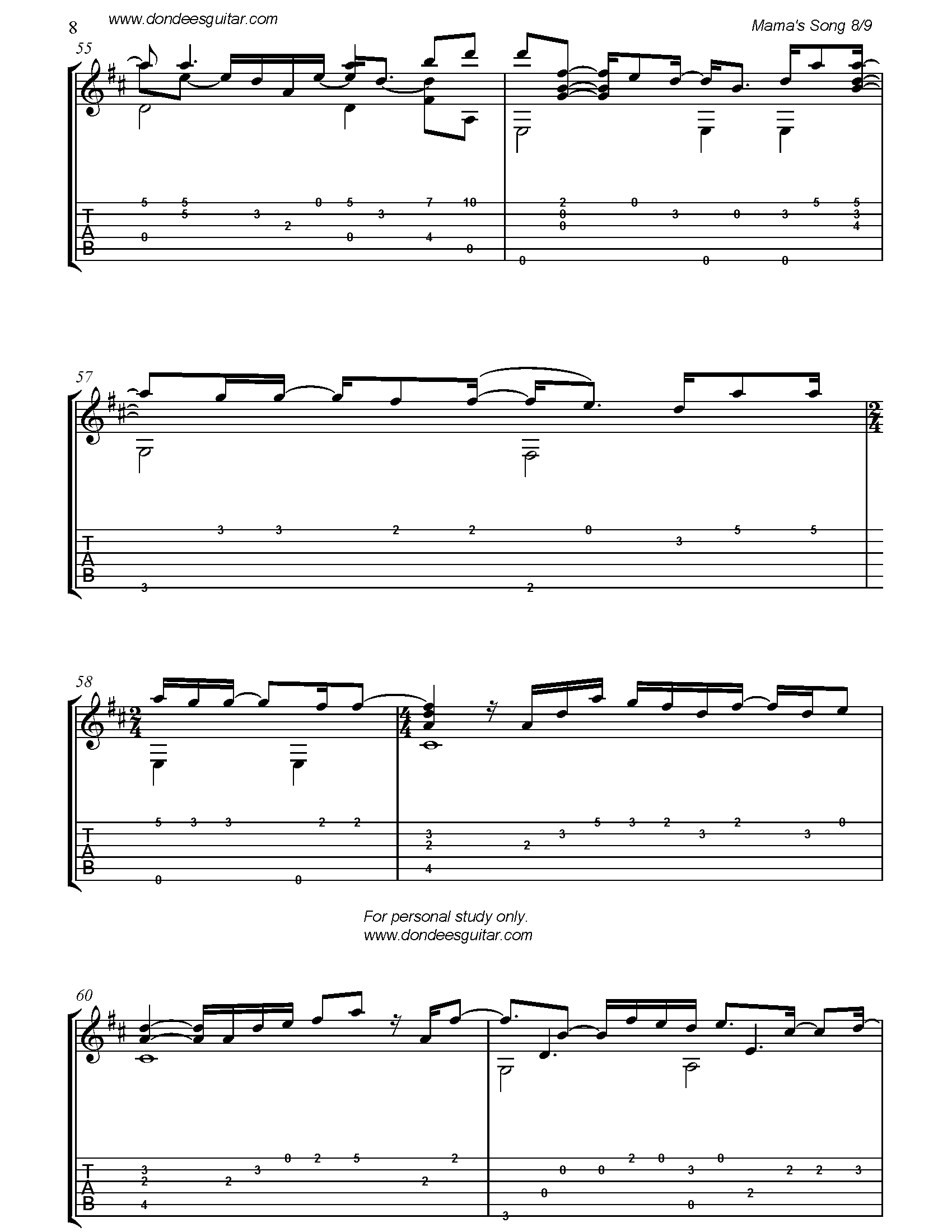 Mama's Song Fingerstyle Tabs