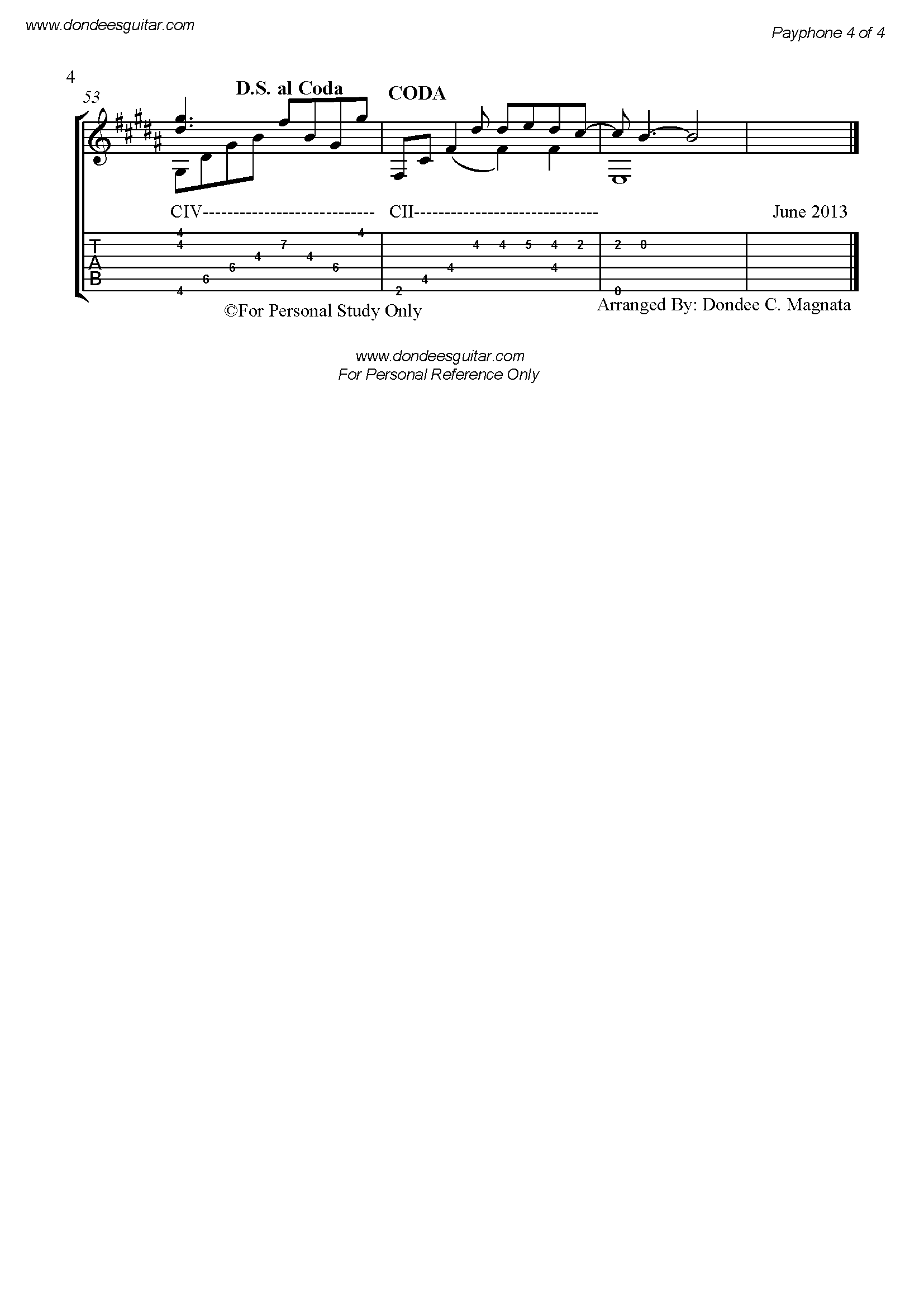 Payphone Fingerstyle Tabs