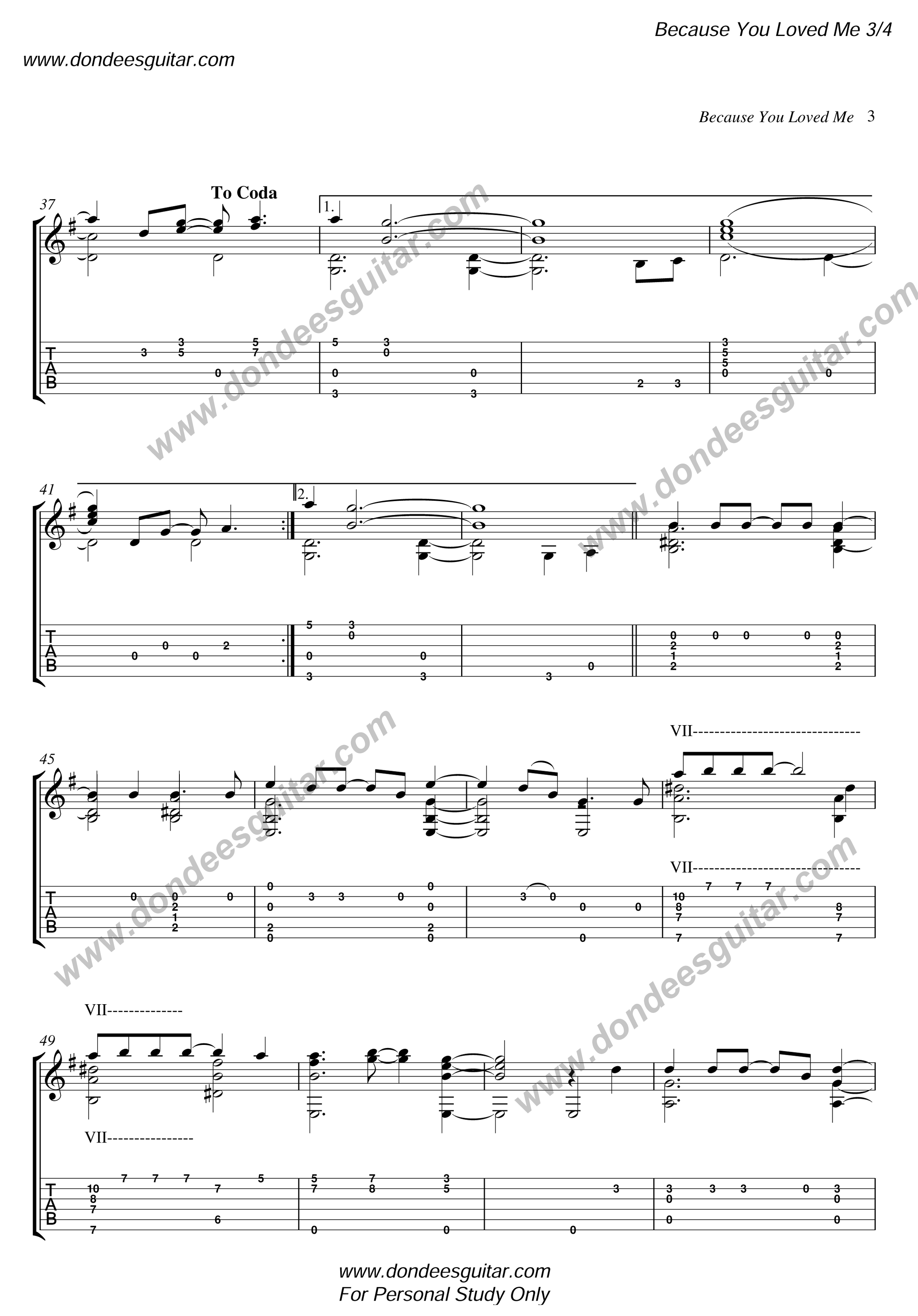 Because You Loved Me Fingerstyle Tabs