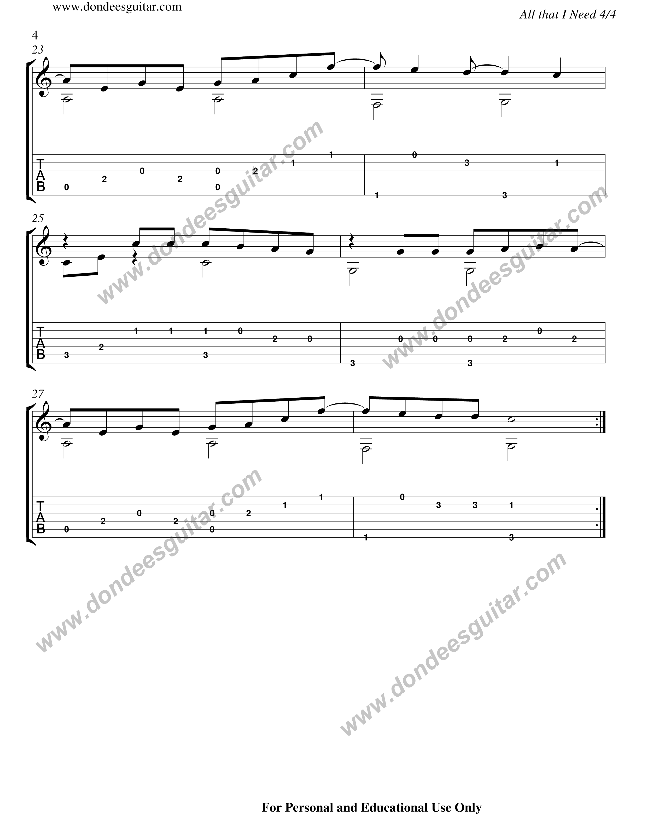 All That I Need Fingerstyle Tabs