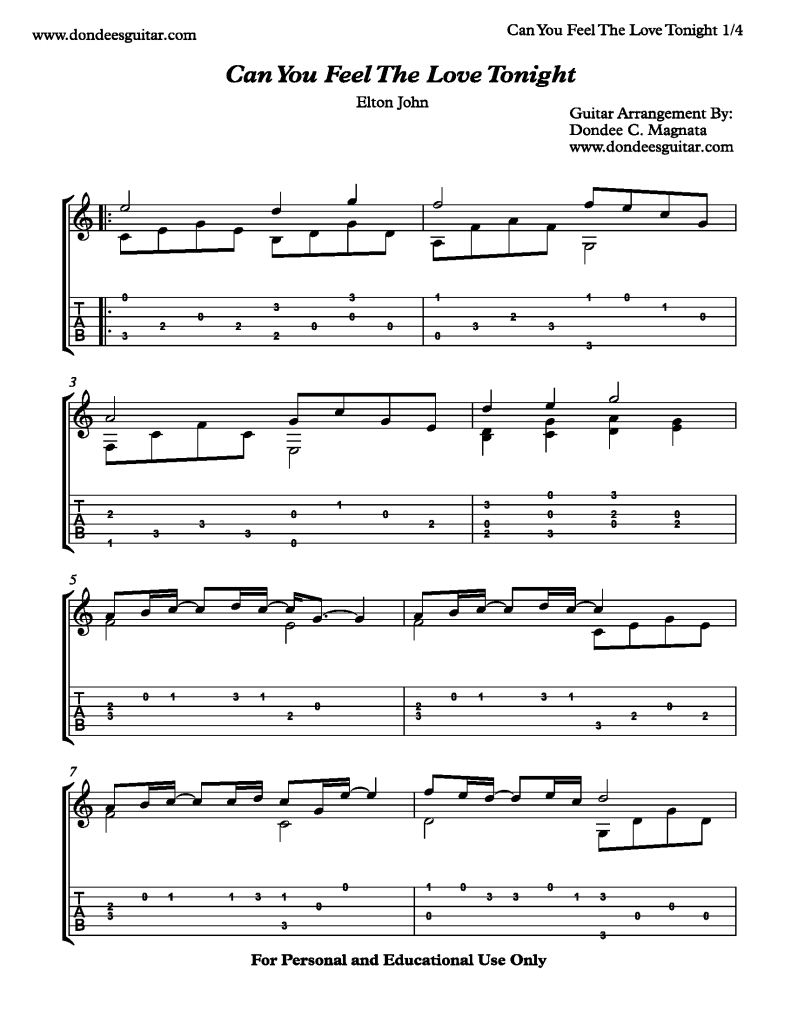 Can You Feel The Love Tonight Free Fingerstyle Guitar Sheet Music