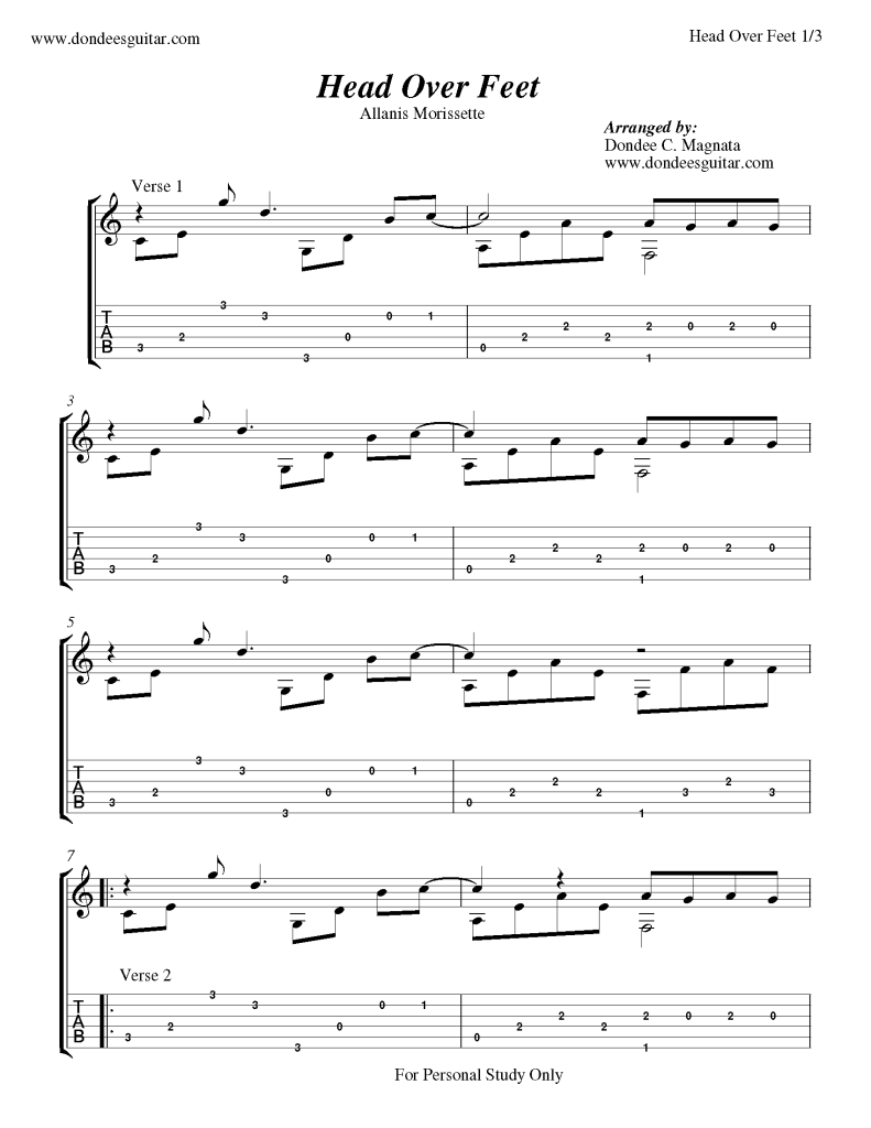 Head Over Feet Fingerstyle Guitar Tab Free Fingerstyle Guitar