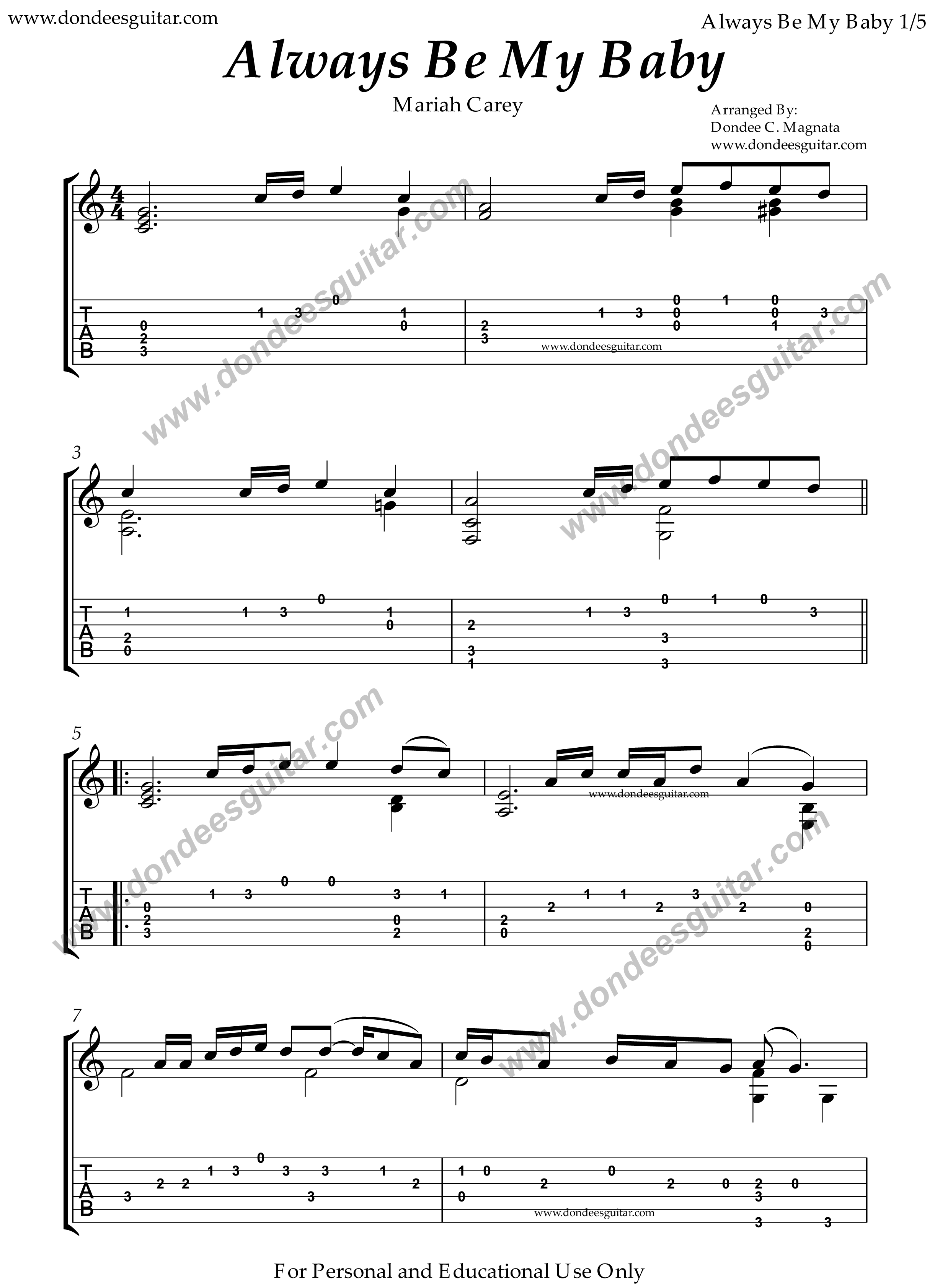 Always Be My Baby Fingerstyle Tabs