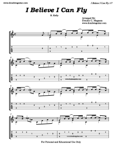I Believe I Can Fly Fingerstyle Tabs