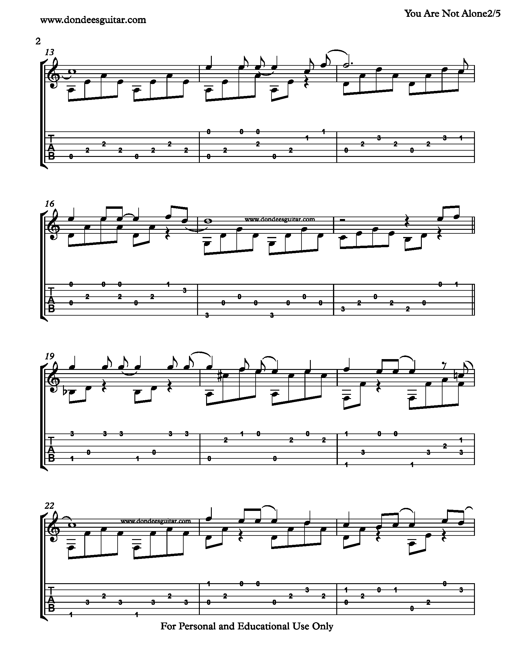 You Are Not Alone Fingerstyle Tabs