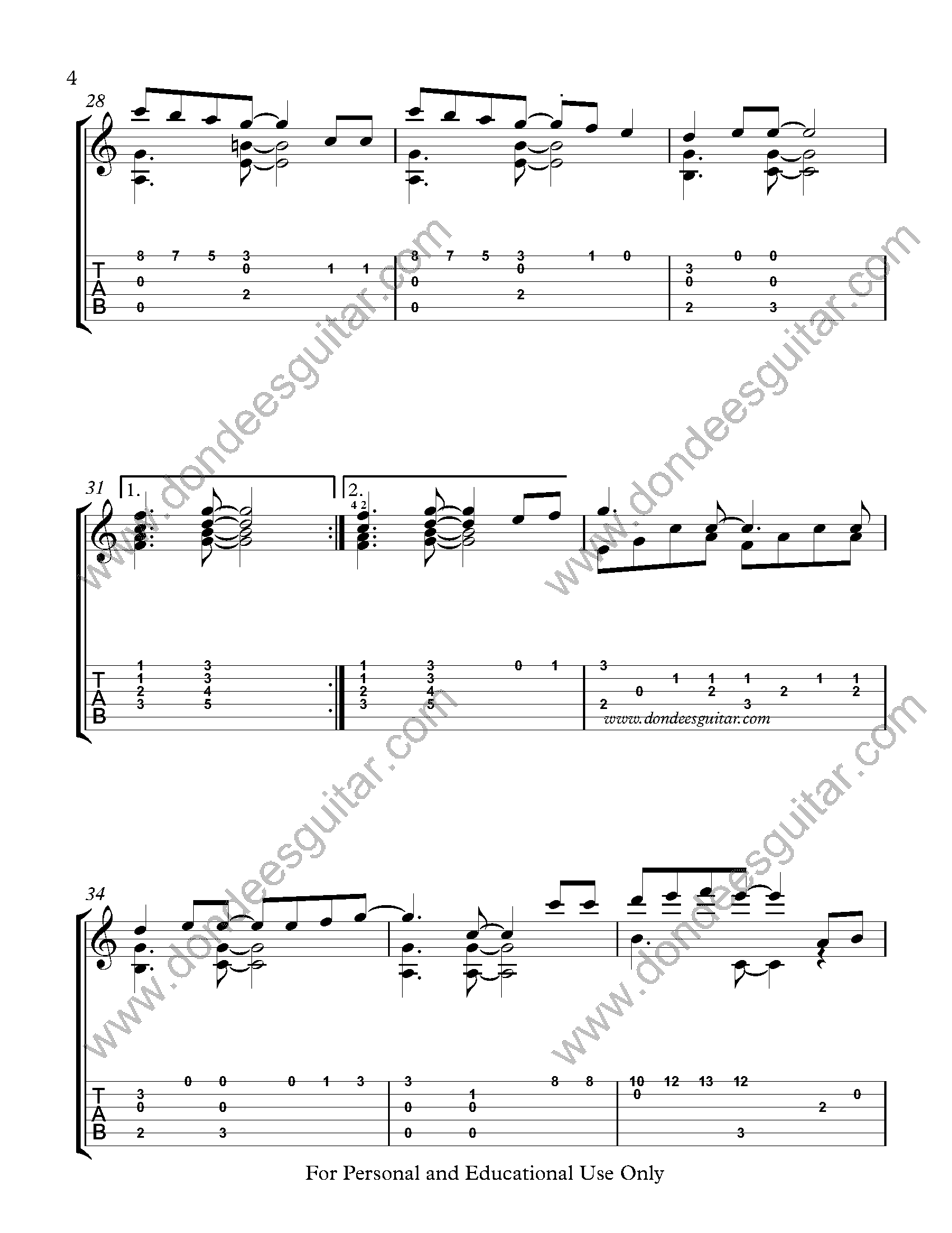 Dreaming Of You Fingerstyle Tabs