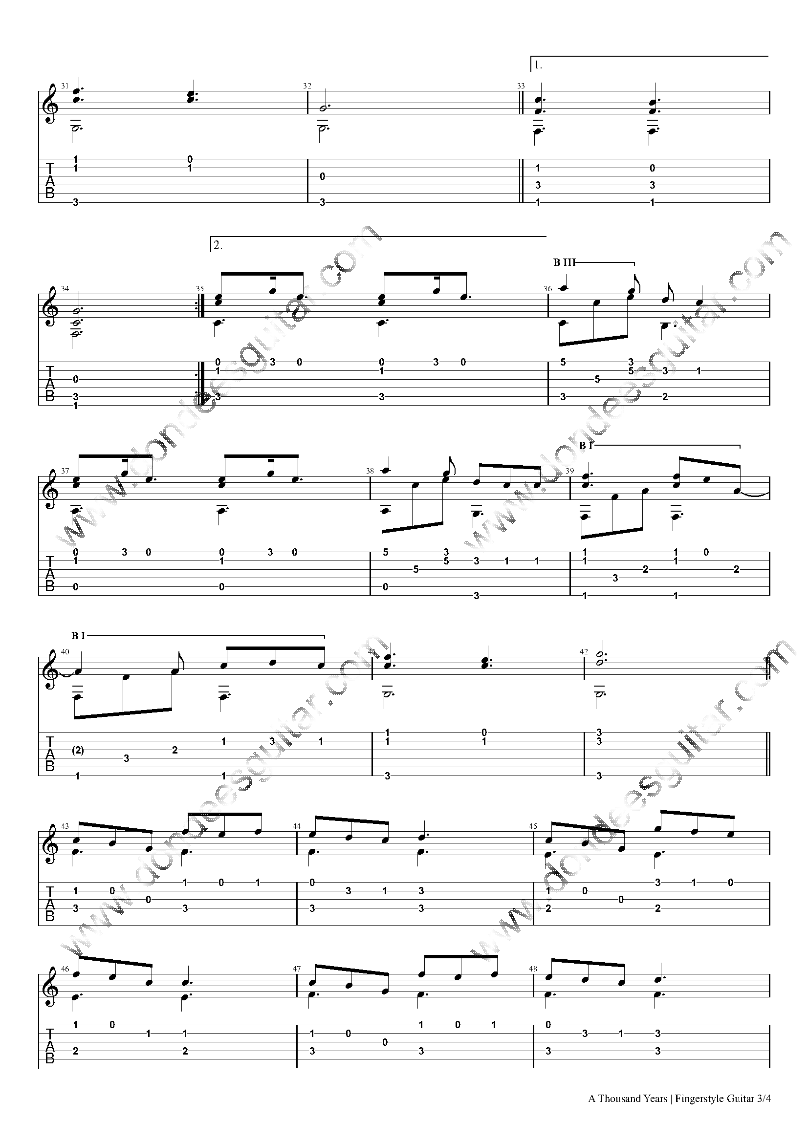 a thousand years fingerstyle tabs