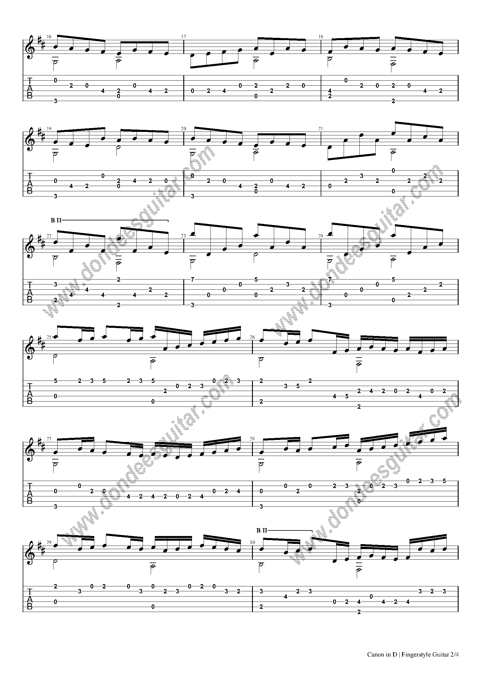 Canon in D Fingerstyle Tabs