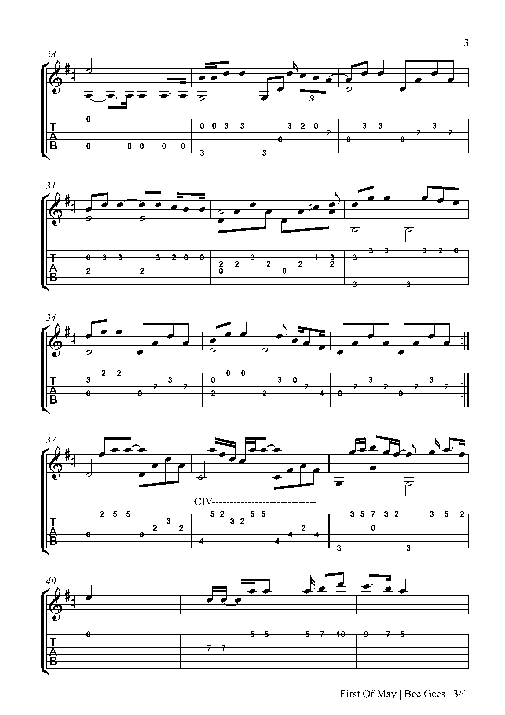 First Of May Fingerstyle Tabs