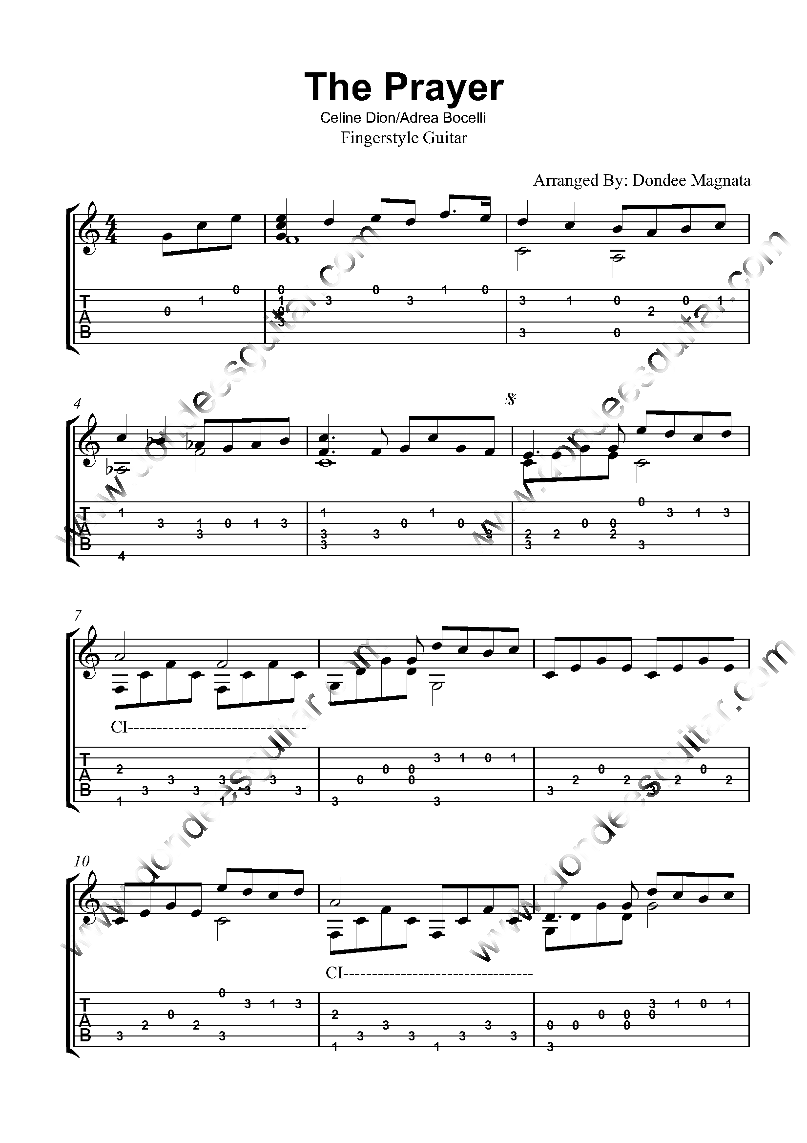 The Prayer Fingerstyle Tabs
