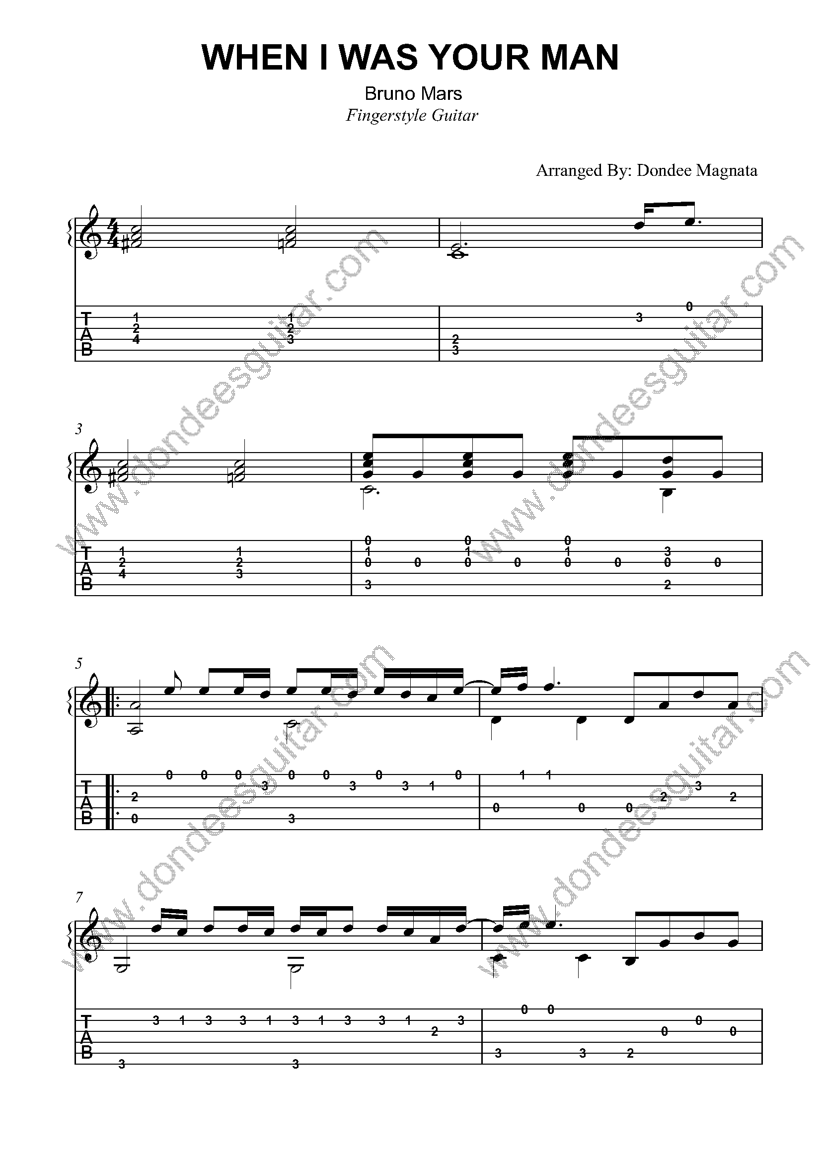 When I Was Your Man Fingerstyle Tabs
