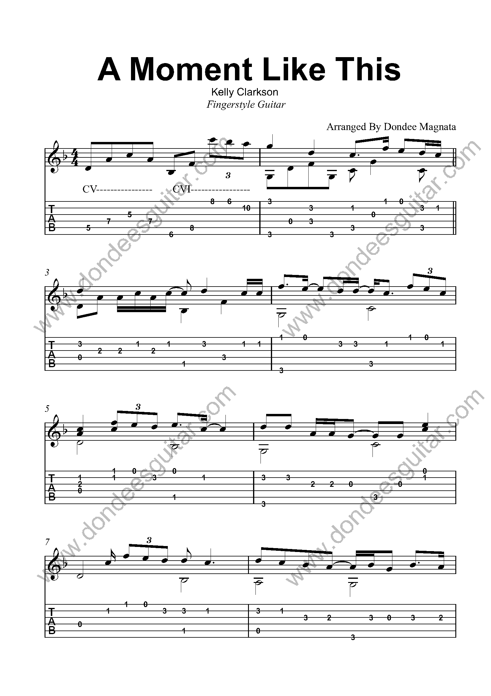 A Moment Like This Fingerstyle Tabs