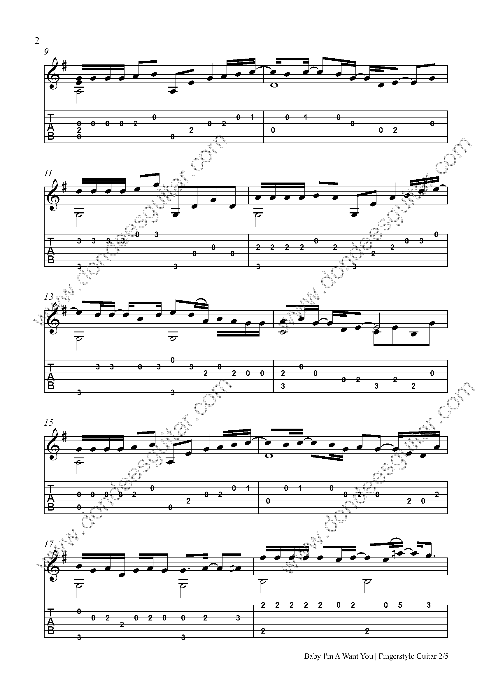 Baby I'm A Want You Fingerstyle Tabs