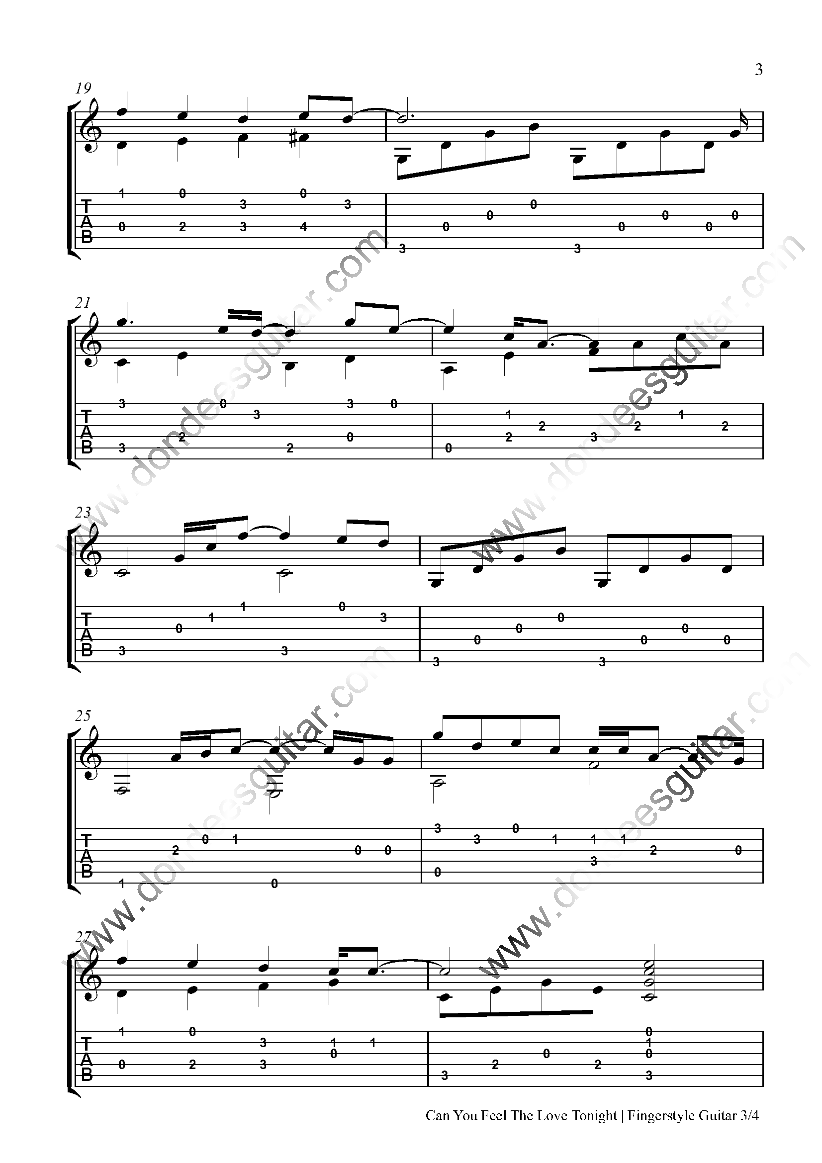 Can You Feel The Love Tonight Fingerstyle Tabs