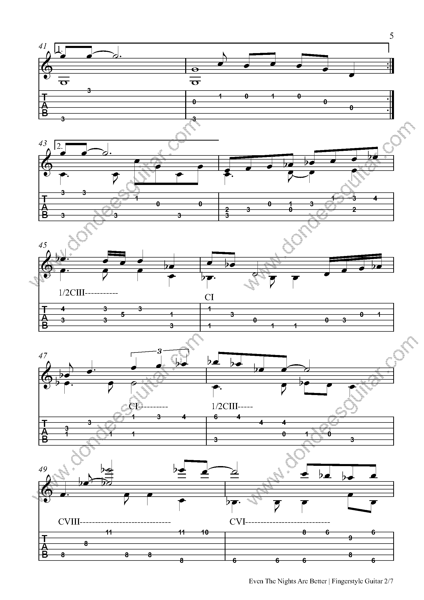Even The Nights Are Better Fingerstyle Tabs