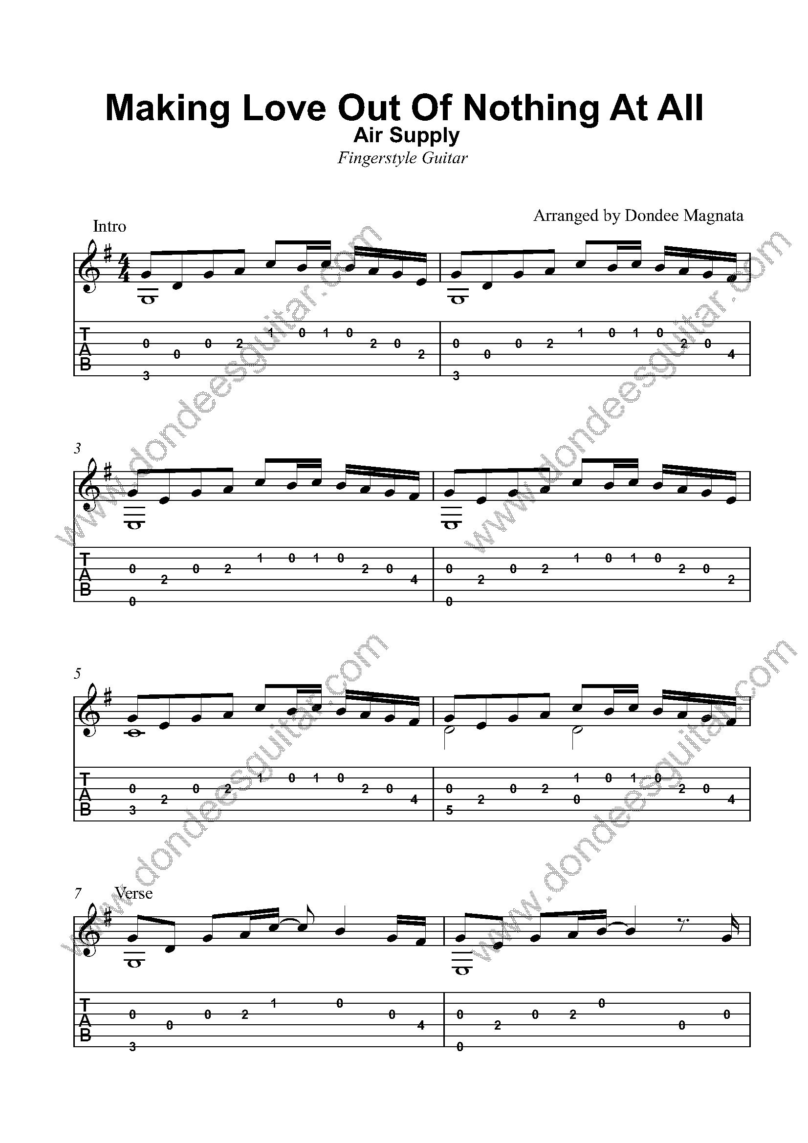 Making Love Out Of Nothing At All Fingerstyle Tabs