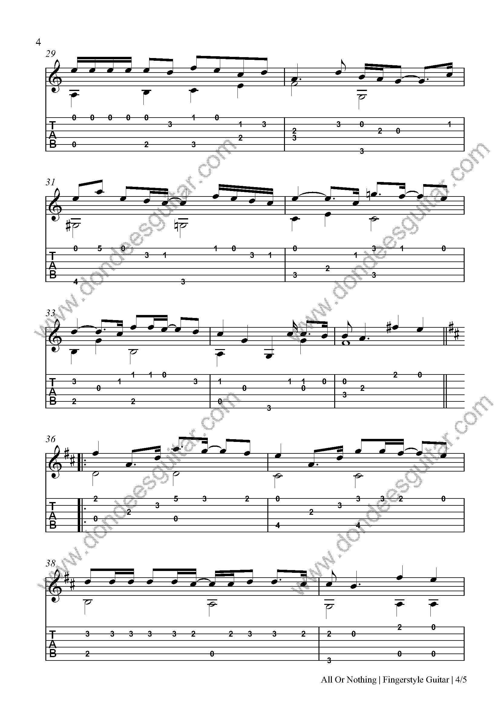 All Or Nothing Fingerstyle Tabs