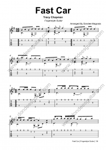 Fast Car Fingerstyle Guitar Tabs