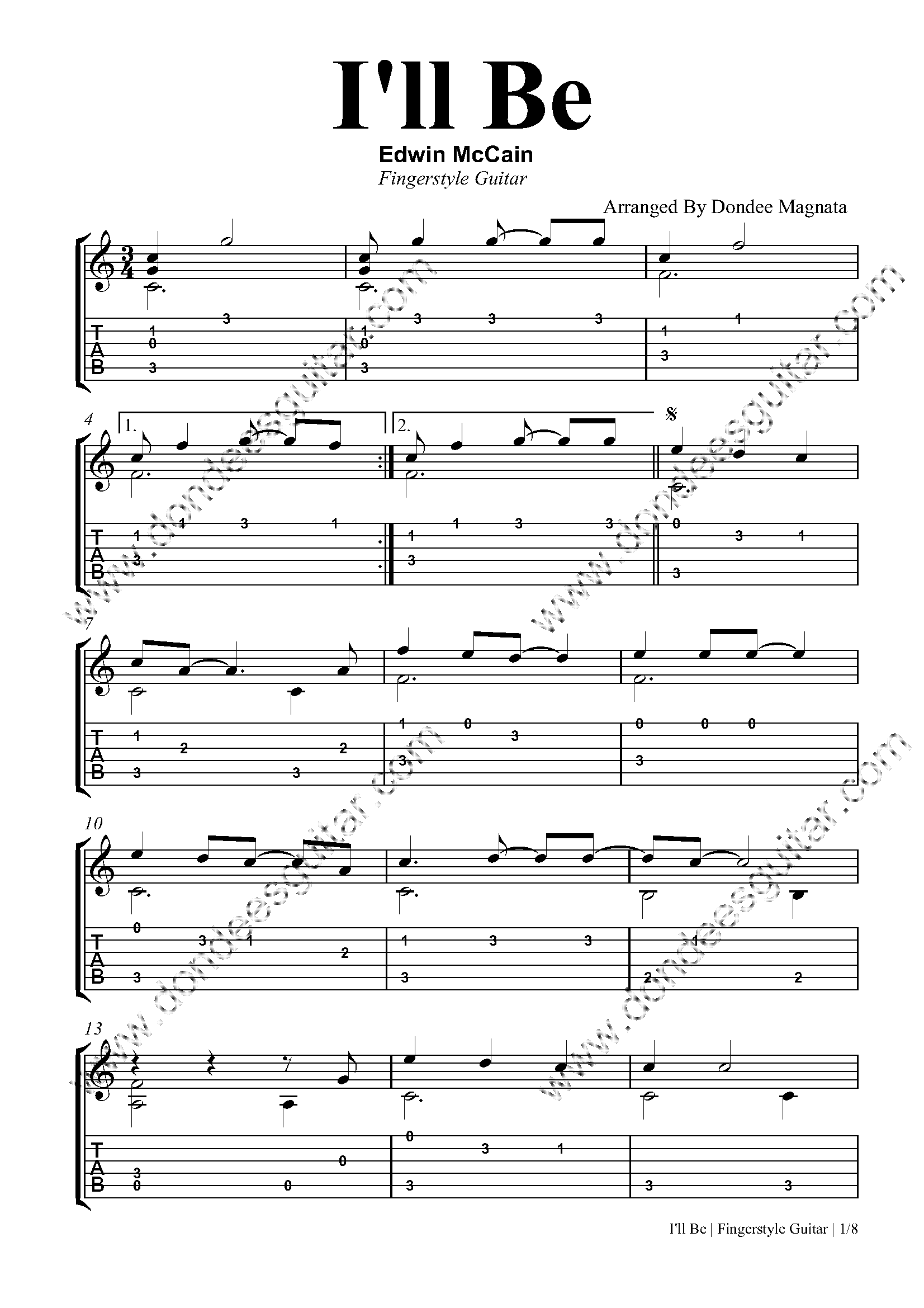 I'll Be Fingerstyle Guitar Tabs