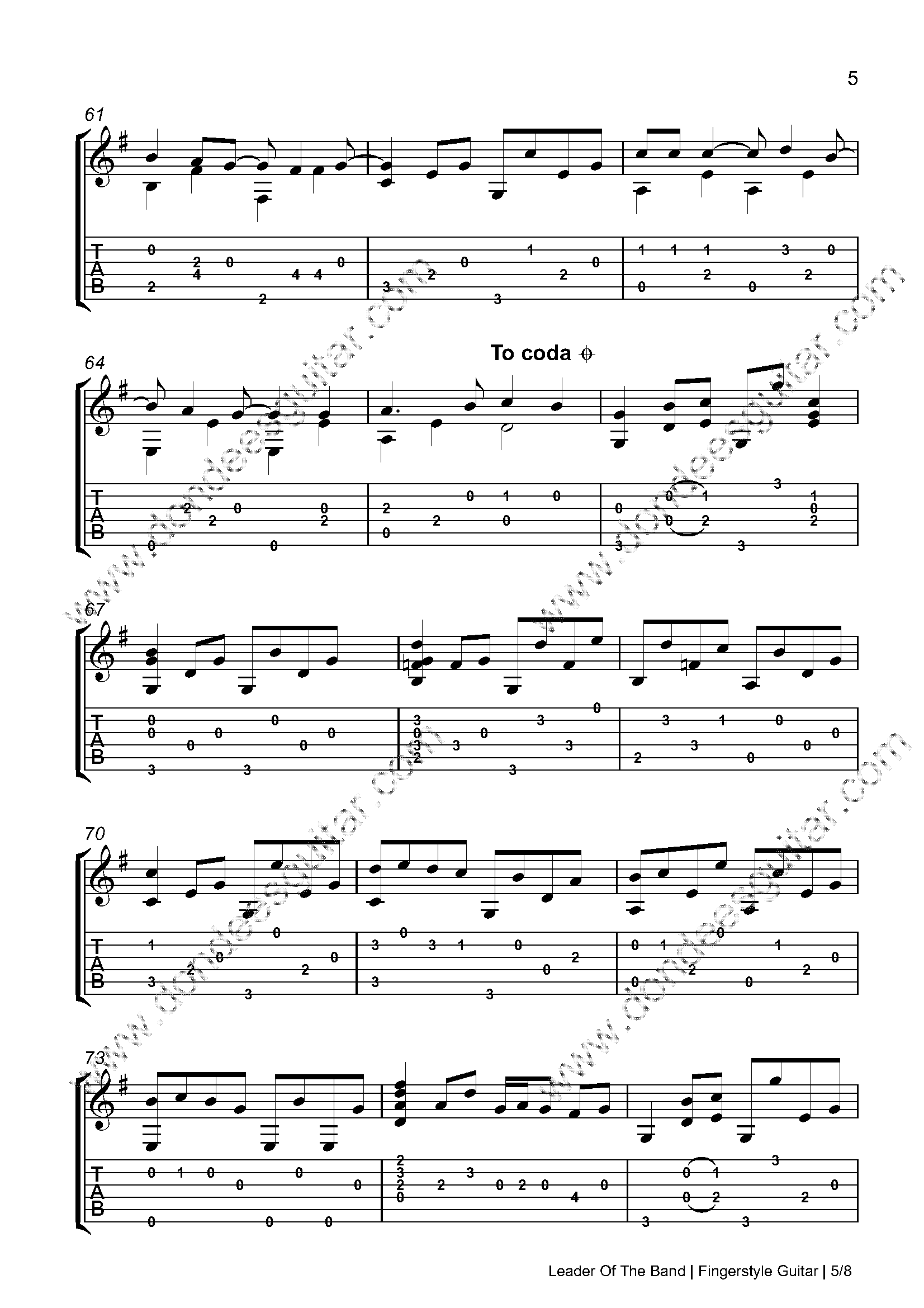 Leader Of The Band Fingerstyle Tabs